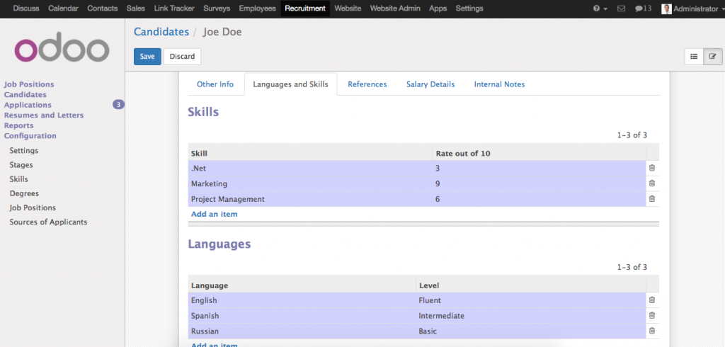 oeRecruitment Candidates Skills Interface