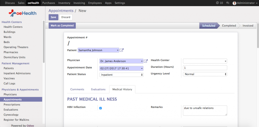 oeHealth Patient Medical History Interface